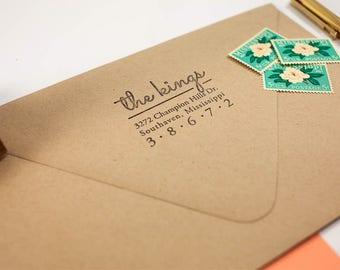Personalized Return Address Stamp, Wedding Rubber Stamp, Script Custom Address, Robins Egg Stamp, Painted Wooden Handle, Housewarming gift