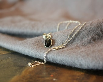 Black Star Diopside necklace with sterling silver