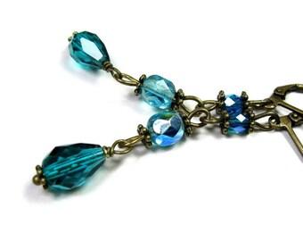 Vintage Style Czech Glass Teardrops Dangle Earrings, Teal, Blue Green, Cyan Vintage Style Earrings, Fashion Jewelry,  Gift Idea