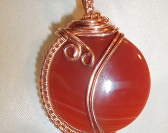 Natural carnelian pendant wire wrapped  Necklace
