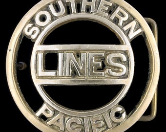 Vintage 1970s Southern Line Pacific Railroad RR RY Solid Brass Belt Buckle
