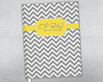 Personalized Pregnancy journal. Hard cover journal. Bound journal.
