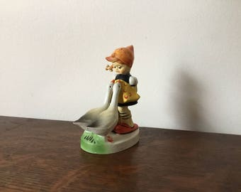 Girl with geese, Hummel goose girl, 1970s, vintage Christmas ornament