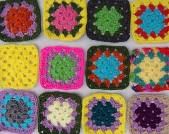 crochet granny squares set of 12, granny square motifs, yarn inspired Christmas tree, granny square embellishments, hand crocheted squares
