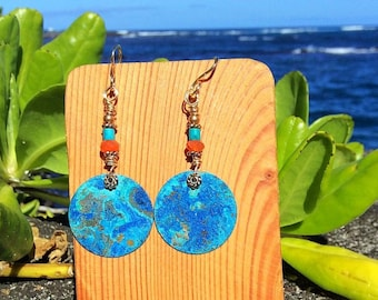 Hawaii Blue Patina Circle Earrings with carnelian & turquoise beads 14k gold filled hooks