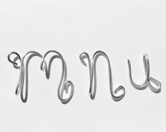Letters m, n, u, aluminum, Christmas ornaments, Personalized jewelry,