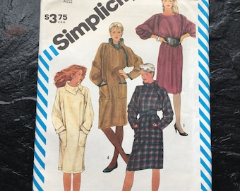 Vintage Early 80s Misses' Pullover Dress Pattern // Simplicity 6116, Size 12 > loose fitting coat style > UNUSED