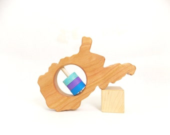 West Virginia State Rattle™ - Modern Wooden Baby Toy - Organic and Natural