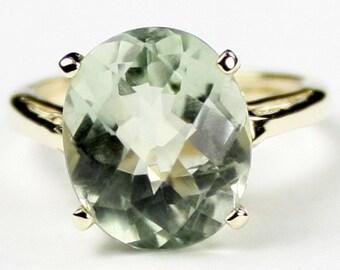 Green Amethyst Prasiolite, 10Ky Gold Ring, R055