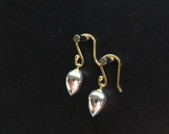 Pyrite Earrings Tear Drop Earrings Silver Earrings Fools Gold Drops Fine Jewelry Dangle Earrings Jewelry Gift For Her Under 100 Under 60