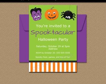 Kids Halloween Invitation, PRINTABLE Kids Halloween Party Invite, Digital Download Halloween Invitation Template, Costume Party Invite HF