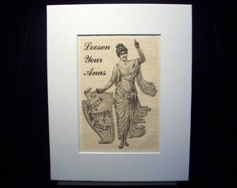 "Unusual advertising - humor, health, ""Loosen your Anus"", hygine, Victorian, unique gift, curious, obscure, strange decor, bathroom humor"