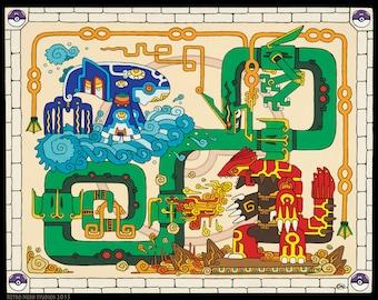 "Pokemon Kyogre, Groudon and Rayquaza Art Print, ""Battle Between Ancients"", 16x20 or 11x14 art print, Poster, Maya, Mayan, Primal, Pokeball"