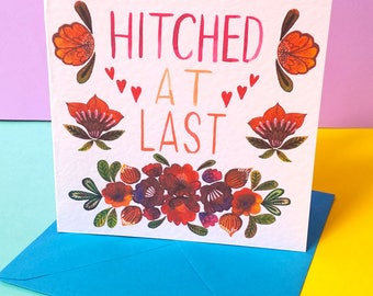 Wedding card, Hitched At Last