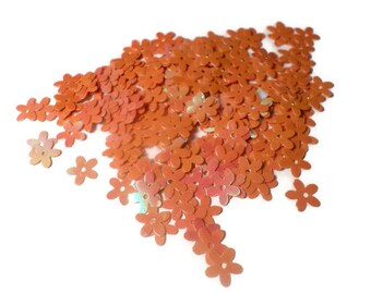 orange glitter flower sequins 10 gr