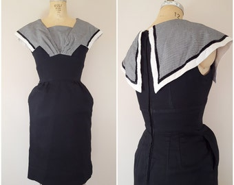 Vintage 1950s Dress / Helen Whiting Dress / Wiggle Dress / Black and White Checks / Small