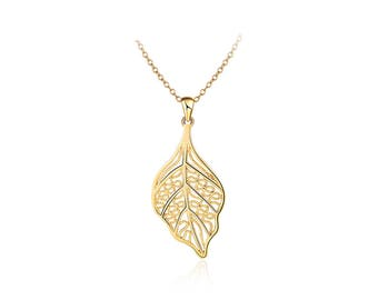 "18K Gold Plated Brass Leaf Necklace - 17.7"" Long"