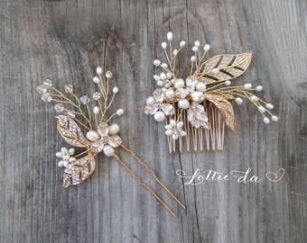 Boho Headpiece Set, Boho Wedding Gold Flower Hair Vine, Wedding Gold Hair vine leaves, Wire Hair Comb, Boho Headpiece -  'CALLIE'