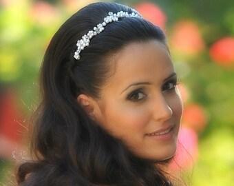Bridal pearl wreath bridal pearl halo bridal pearl tiara wedding pearl tiara bridal pearl crown wedding pearl crown pearl and crystal halo
