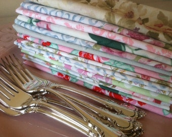 Tea Party - Shabby Chic Cloth Napkins, SET of 12, by CHOW with ME
