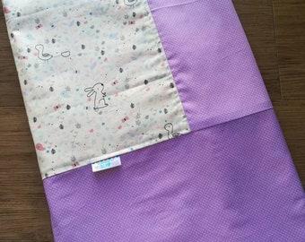 Kids blanket - Flannel Blanket - girls blanket - cotton blanket- Summer Blanket - Travel blanket - Bunny & Robin