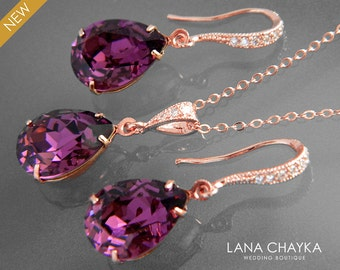 Amethyst Rose Gold Jewelry Set Purple Crystal Earrings&Necklace Set Swarovski Amethyst Rhinestone Jewelry Set Wedding Bridesmaids Jewelry
