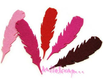Set of 5 feathers shades red, pink felt embellishment scrapbooking *.