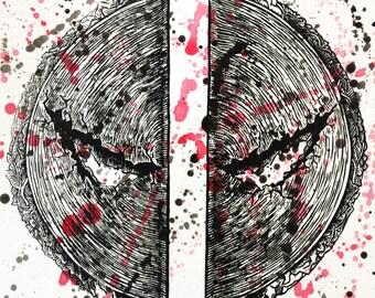 "Taco Deadpool - 9""x 9"" - Linoleum block print - black"