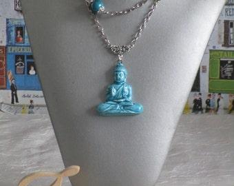 """Ravissant collier avec pendentif en céramique """"Bouddha"""""""