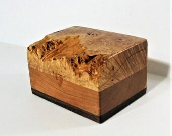 Natural Edge Maple Burl Wood Treasure Box