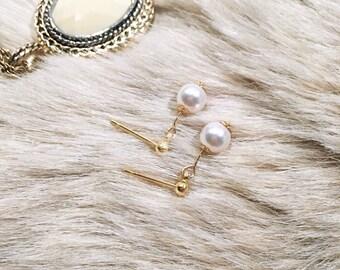 14k Gold Filled Swarovski Pearl Drop Earrings Gold Drop Earrings Swarovski Earrings Everyday Earrings