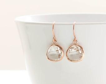 Rose gold Earrings. Clear Glass Crystal Dangle Earrings. Bridal Jewelry. Bridesmaid Earrings. Everyday Earrings.