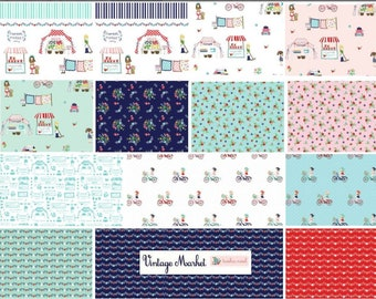 Vintage Market Bundle, Riley Blake cotton fabric - fat quarter set - 16 pieces