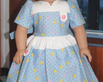 American Girl Style 1930s Tab Dress in Blue Multi