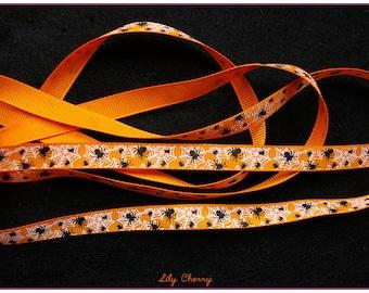 1 meter of Ribbon pattern Spider Web halloween orange