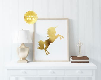 Unicorn Gold Foil Print - Unicorn Decor - Unicorn Wall Art - Unicorn Wall Decor - Unicorn Art - Be a Unicorn - Unicorn Party Decor