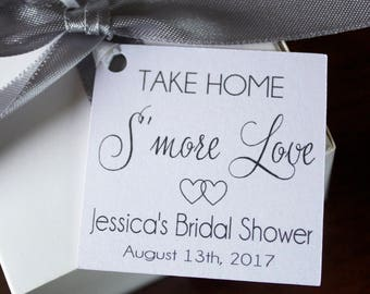 Bridal Shower Favor Tags - Wedding Favor Thank You Tags - Smore Love  Favor Tags - Personalized Wedding Favor Tags - Elegant Favor Tags-Set