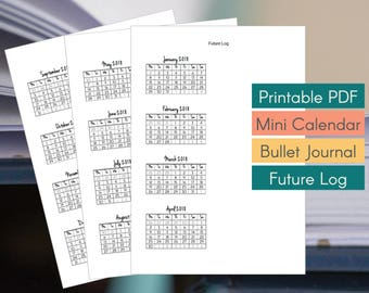 2018 Future Log for Bullet Journal - Monday Start Mini Calendars 4x3