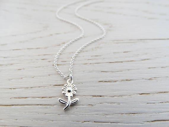 Tiny Silver Flower Necklace - Sterling Silver - Teacher Gift - Nursery Teacher - Childminder - Nanny