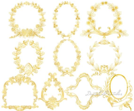 Gold frame clipart Digital frames Floral frame clipart Gold foil ...