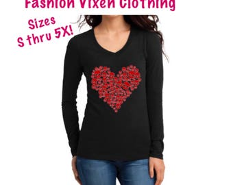 Day of the Dead Red Glitter Skull Heart Long Sleeve V-Neck Shirt S M L XL Plus Size 1x 2x 3x 4x 5x