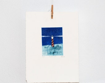 Lighthouse etching, hand printed, nautical wall art