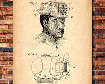 Miner's Lamp Patent Print Art 1913