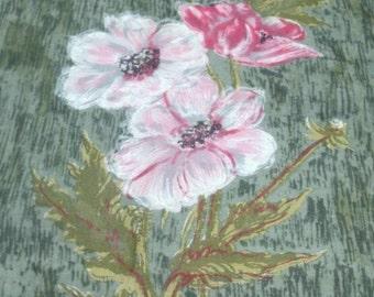 Vintage COLETTE Hand Painted Pink Flower Hankie