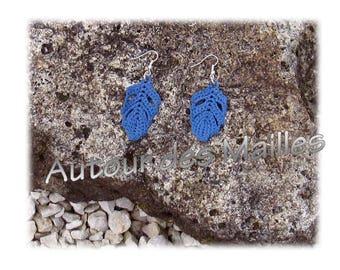 Crochet Earrings: Blue jean sheet