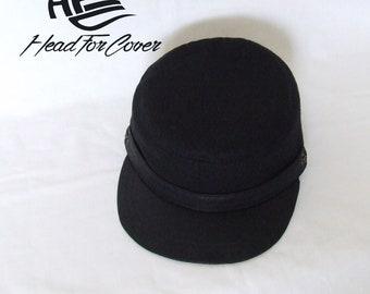 Handmade black cadet cap.