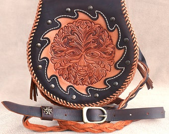 """Handmade handtooled leather handbag """"Father Nature"""" with hand-carved picture of green man"""