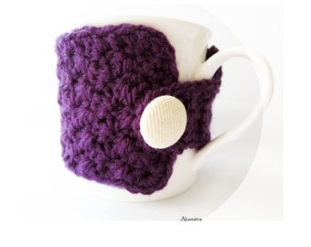 Purple crochet cup cozy, purple mug cozy, crochet coffee cup cozy, coffee mug cozy, tea cup cozy, crochet cup cozy, crochet coffee sleeve