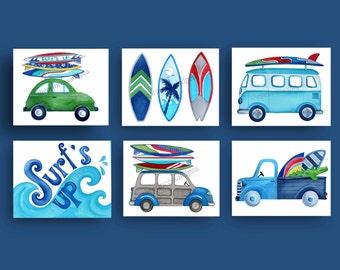 surf art prints, retro surf bedding art, surfing decor, surf's up, boy surfing art prints, watercolor print
