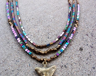 Fire Torched Hematite-Brass-Shark-Tooth-Bronz-Necklace /Free US Shipping
